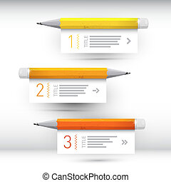 One, two, three, vector paper progress steps for tutorial, infographics