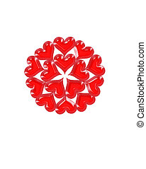 pattern from red shapes like hearts - pattern from red...