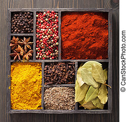 spices in box: pink and black pepper, paprika powder, curry,...