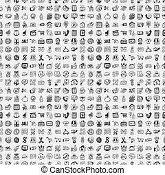 seamless doodle shopping pattern