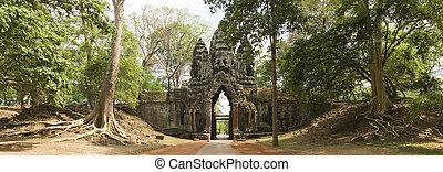 Noth Gate Angkor Thom, Angkor Wat, Cambodia - Panoramic of...