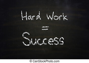 hard work equal success chalk written on blackboard