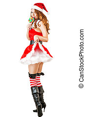 sexy christmas woman wearing santa claus clothes - sexy...