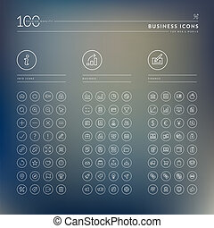 Set of business icons - Thin line icons for web and mobile