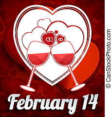 Happy Valentine Day Background with Herts and Goblet
