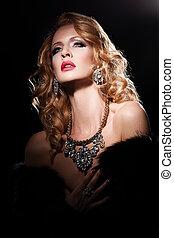 Beauty on black - Portrait of beautiful female model on...