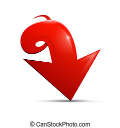 Red vector arrow on white background