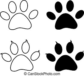 Vector - Black paw print eps 10