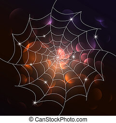 Vector white cobweb on dark background