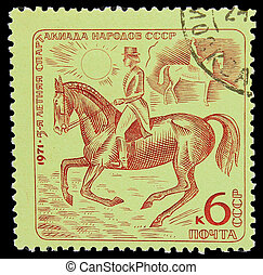 USSR - CIRCA 1971: A stamp printed in USSR, horseback riding, equestrian sport, 5-year sports day of the USSR, circa 1971