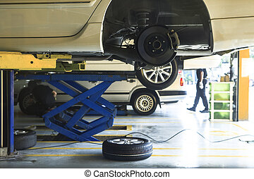 car wheel suspension and brake system maintenance in auto...