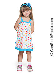 Pretty little girl in polka dot dress - Portrait of a pretty...