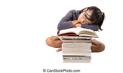 Young Asian Girl With Books - Young Malay Asian girl...