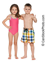 Two children in swimsuits - A portrait of two children in...