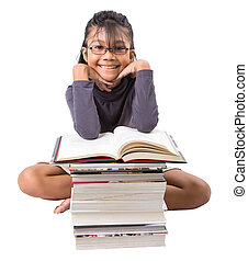 Young Asian Girl With Books - Young Malay Asian girl with a...