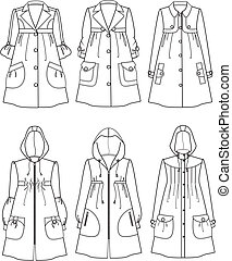 Raincoat - Vector illustration of women's raincoats