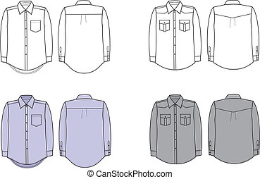 Shirts - Vector illustration. Set of business shirts. Front...