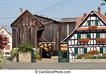 Tobacco barn - Timbered Farm and barn to dry tobacco in the...