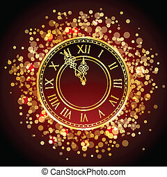 Vector red and gold New Year clock