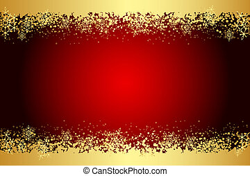 Vector red frame with snowflakes