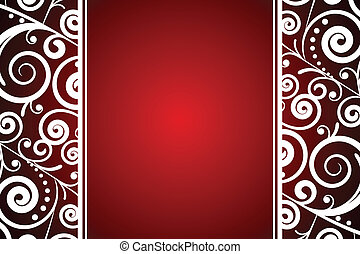 Vector red and white floral frame