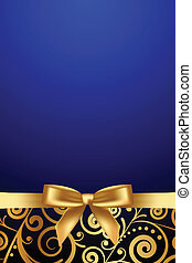 luxury frame with gold ribbon - Vector blue and gold luxury...