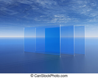 windowpanes - glass panes in front of blue cloudy sky - 3d...