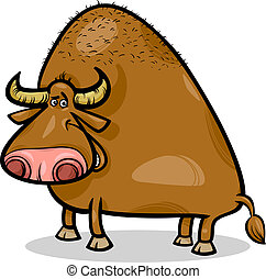 bull or buffalo cartoon illustration - Cartoon Illustration...