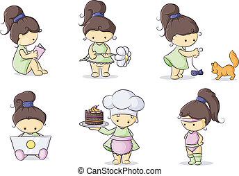 color set little girls - color set of cute little girls