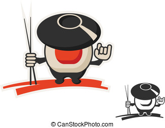 wok and roll - vector character icon uniting wok and roll