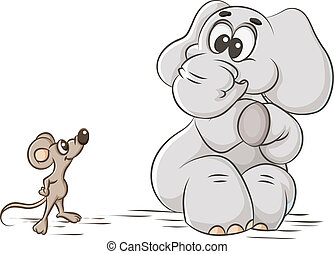 elephant and mouse - cartoon illustration cowardly elephant...