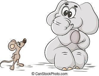 elephant and mouse - cartoon illustration cowardly elephant...