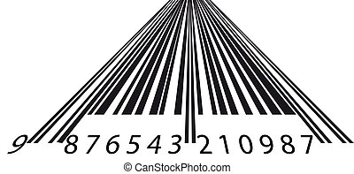 Tilt barcode - Perspective isolated barcode on white