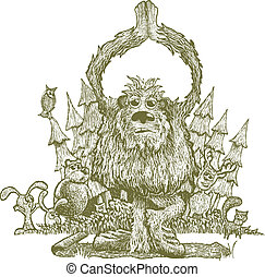 Yetti Yoga - Scratchboard illustration of bigfoot doing yoga...