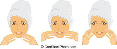 Woman making face massage. Vector illustration