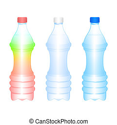 Bottles - Set of the isolated bottles on a white background...