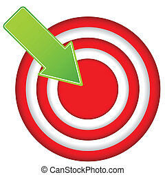 Red target icon with drop shadow in circular design
