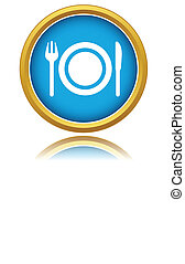 Restaurant vector sign - Blue restaurant vector sign on a...