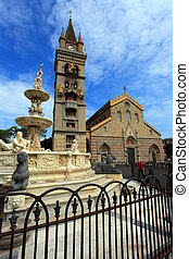 orion foumtian messina italy - orion fountain with church...