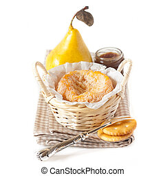 Langres - French cheese Langres in a basket with pear,...
