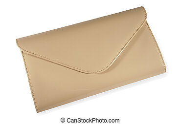 Beige clutch bag isolated on white background...