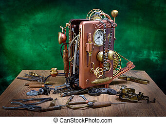 Phone repair - Repair phone on a wooden table Steampunk...