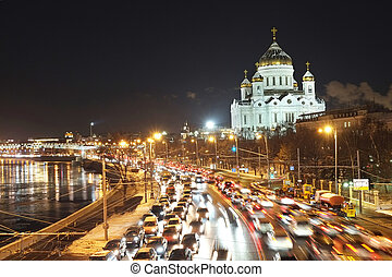 traffic jam - Night traffic jam in Moscow