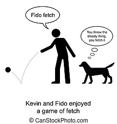 Fido Fetch - Kevin plays fetch with Fido cartoon isolated on...