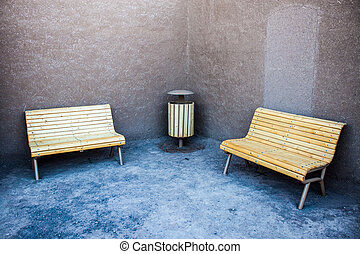 Detail of benches in ancient town of Bam, during...
