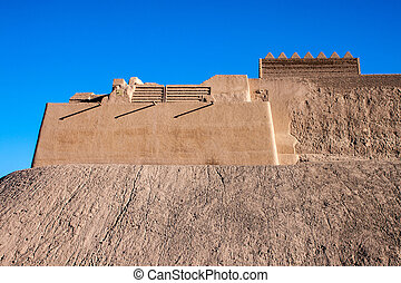 Outer walls of ancient town of Bam, during reconstruction of...