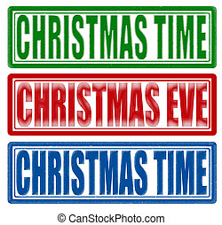 Christmas time - Stamp with text Christmas time inside,...