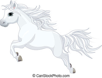 Running horse - Illustration of running beautiful white...