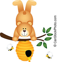 Teddy Bear Upside Down in Beehive - Scalable vectorial image...