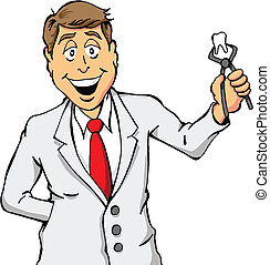Dentist Holding a Tooth - Cartoon of a Dentist Holding a...